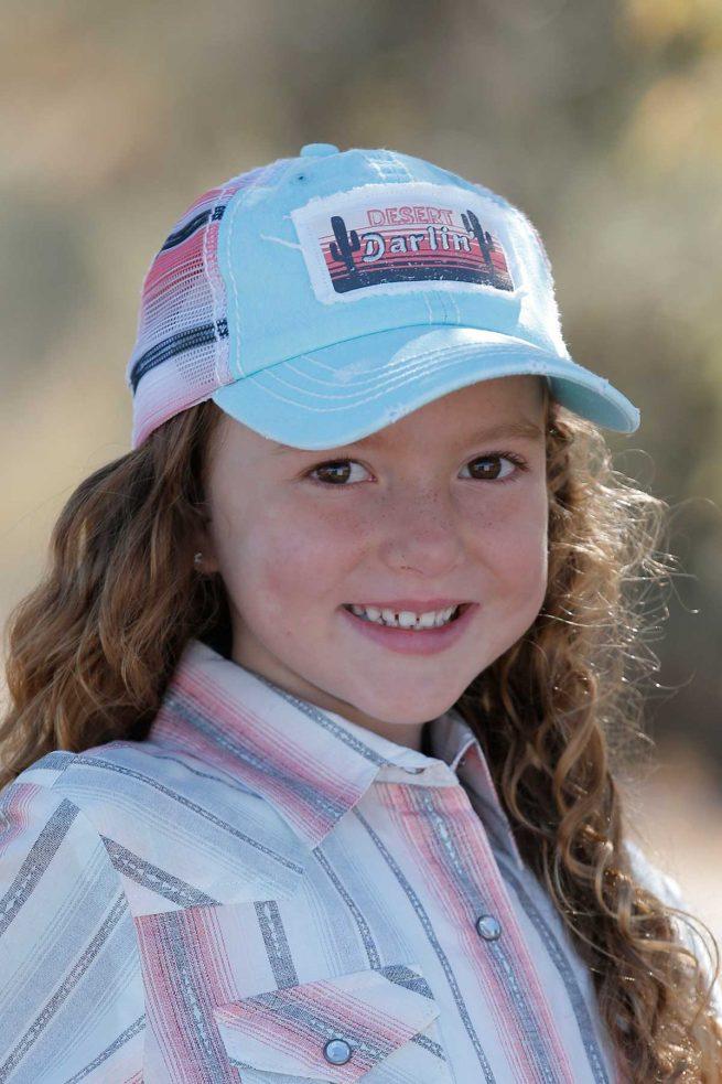 kids turquoise trucker hat