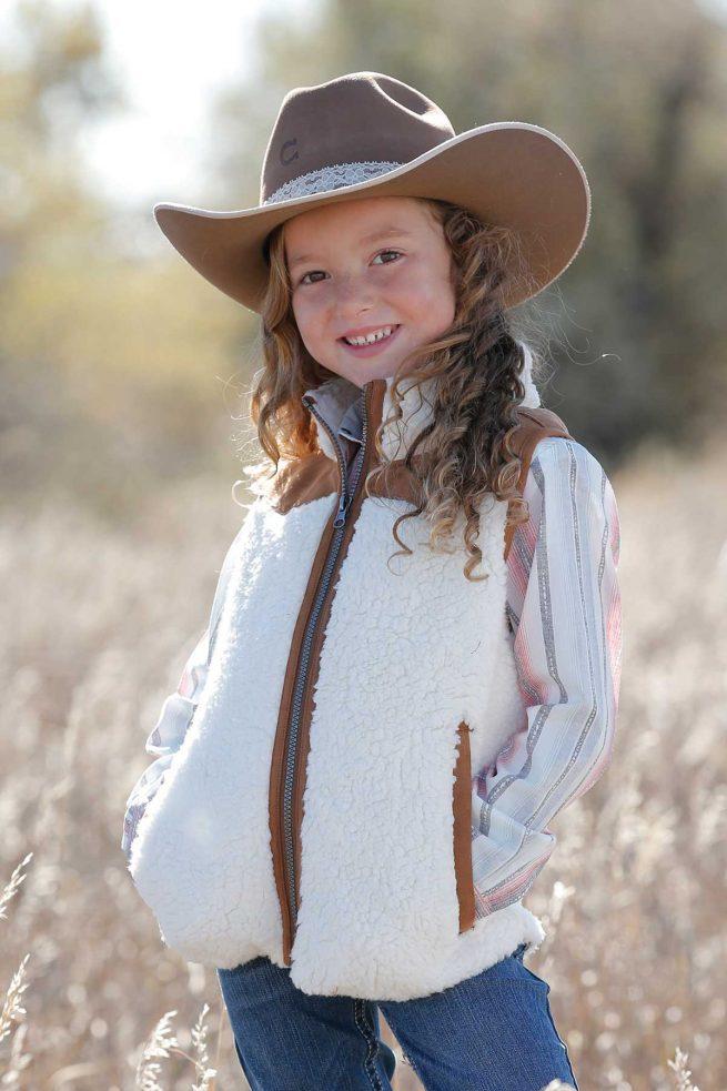 kids white fleece with tan faux leather yoke vest