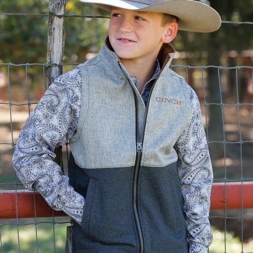 kids textured grey block bonded vest