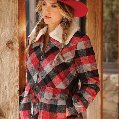 ladies red plaid sherpa jacket